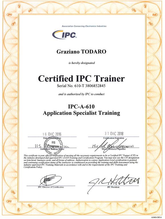Certificato IPC-A-610 Trainer - Graziano Todaro